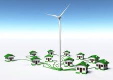 De windgenerator levert de huizen Royalty-vrije Stock Afbeelding