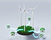De windgenerators leveren huizen Royalty-vrije Stock Afbeeldingen