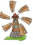 De windmolen, hand trekt Royalty-vrije Stock Afbeeldingen