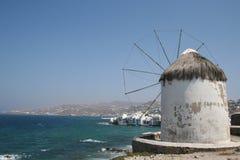 De Windmolen van Mykonos Stock Afbeelding