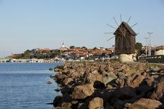 De Windmolen van Nesebar Stock Foto's