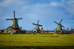 De Windmolenpark van Zaanseschans, Nederland stock afbeelding