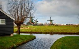 De Windmolenpark van Zaanseschans, Nederland royalty-vrije stock afbeeldingen