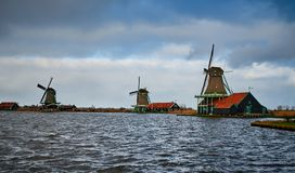 De Windmolenpark van Zaanseschans, Nederland royalty-vrije stock afbeelding
