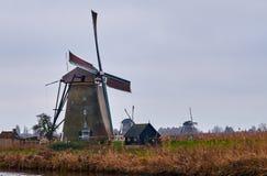 De windmolens van Kinderdijk, Nederland stock foto