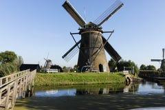 De windmolens van Kinderdjik in Holland Stock Foto