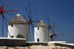 De windmolens van Mykonos - Griekenland Royalty-vrije Stock Fotografie
