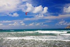 De windsurfing toevlucht van Prasonisi.A. Landschap Stock Fotografie