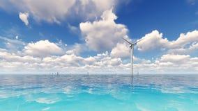 De windturbine die elektriciteit op 3D overzees produceren geeft terug stock foto's
