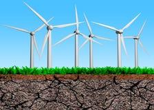 De windturbines op gras drogen gronddwarsdoorsnede, 3D illustratie Royalty-vrije Stock Foto