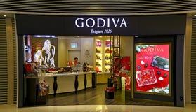 De winkel van de Godivachocolade Stock Afbeeldingen