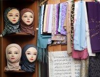 De winkel van de sjaal in Damascus Syrië souk stock foto