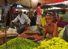 De winkel van de Spaanse peper - Markt Tangalla (Sri Lanka) Stock Foto