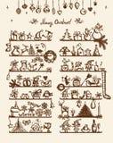 De winkel van Kerstmis, schetstekening voor uw ontwerp Royalty-vrije Stock Afbeelding