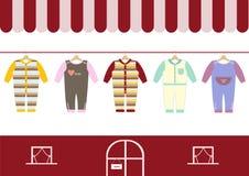 De winkel van kinderenkleren, winkels en opslagpictogrammen, Vectorillustratie Royalty-vrije Stock Foto's