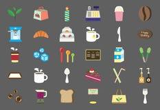 De Winkel Vlakke Pictogrammen van de bakkerijkoffie stock illustratie