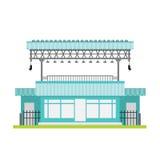 De winkelbouw vector voorla van het venster blauw zwart wit staal stock illustratie