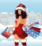 De winkelende stad van het kerstmanmeisje Stock Fotografie