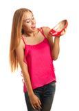 De winkelende vrouw houdt van schoenen Stock Fotografie