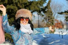 De winkelende vrouw van de winter Royalty-vrije Stock Foto's