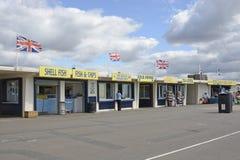 De winkels van de Littlehamptonstrandboulevard, West-Sussex, Engeland Royalty-vrije Stock Foto