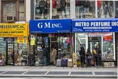 De winkels van Manhattan van de Stad van New York op Broadway Stock Fotografie