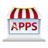 De winkelvenster van Apps Stock Afbeelding