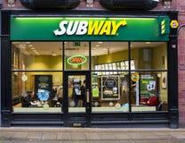 De winkelvoorzijde van de metrosandwich stock afbeeldingen