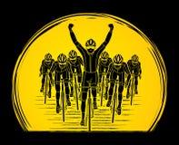 De winnaar met groep het biking vector illustratie