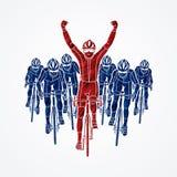 De winnaar met groep het biking stock illustratie