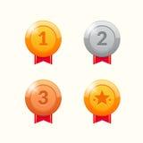 De winnaarmedailles van het goud, van het zilver en van het brons De linten van de toekenning Stock Afbeeldingen