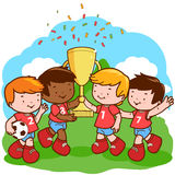 De winnaars van voetbaljonge geitjes Stock Foto