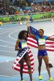 De winnaars van vrouwen` s 400m hindernissen bij Rio2016 stock afbeeldingen