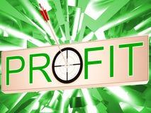 De winst betekent verdienend de Opbrengst en Bedrijfsgroei Stock Foto