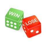 De winst en verliest woorden op twee dobbelt Stock Afbeeldingen