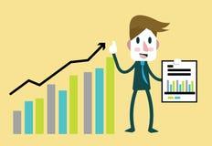 De winst van zakenman gelukkige statistieken financiële het toenemen bar vector illustratie