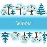 De winter achtergrondontwerp met gestileerde samenvatting Stock Foto