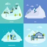 De winter Actieve Rust in het Concept van het Bergenontwerp vector illustratie