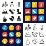 De winter allen in Één Vlakke het Ontwerpreeks Uit de vrije hand van de Pictogrammen Zwarte & Witte Kleur stock illustratie