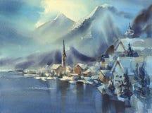 De winter in Alpen met het landschap van de bergenwaterverf met bomen en de vallei royalty-vrije illustratie
