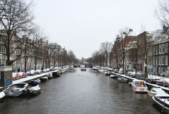 De winter in Amsterdam Stock Afbeelding