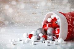 De winter background Nieuwjaar` s speelgoed Gelukkig Nieuwjaar en Vrolijke Kerstmis Stock Foto