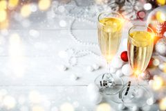 De winter background Nieuwjaar` s speelgoed Gelukkig Nieuwjaar en Vrolijke Kerstmis Royalty-vrije Stock Foto