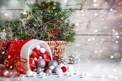 De winter background Nieuwjaar` s speelgoed Gelukkig Nieuwjaar en Vrolijke Kerstmis Royalty-vrije Stock Foto's
