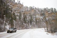 De winter behandelde vallei in Spearfish, BR Stock Fotografie