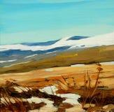 De winter in bergen, die op een canvas, illustratie schilderen stock foto