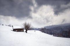 De winter in de bergen Het landschap van de winter Stock Fotografie
