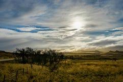 De winter in de bergen Kerstmislandschap op een zonnige ochtend Stock Fotografie