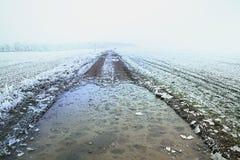 De winter bevroren gebiedsweg met gebarsten ijs stock afbeelding