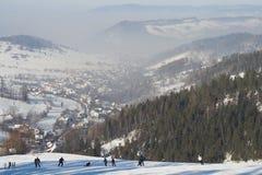 De winter bij bergen stock foto's